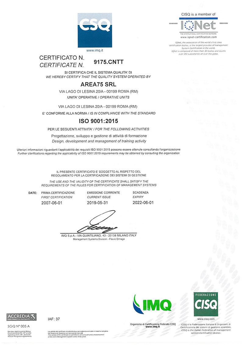 certificazione 2019